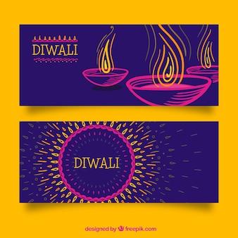 Hand drawn diwali banners