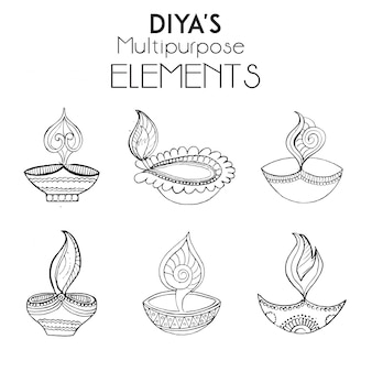 Hand drawn diya's collection