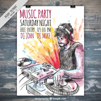 Hand drawn dj music party poster with watercolor splashes