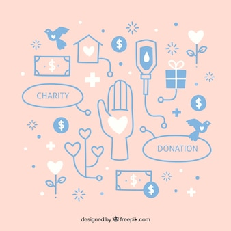 Hand drawn donation elements background