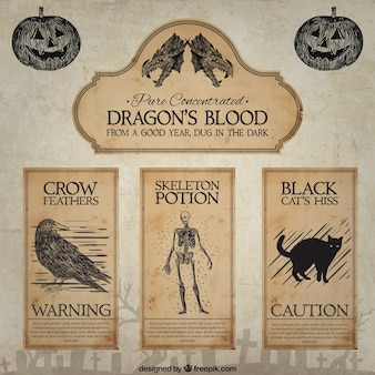 Hand drawn dragon's blood labels