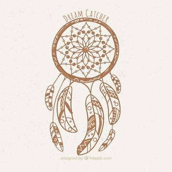 Hand drawn dream catcher ethnic background