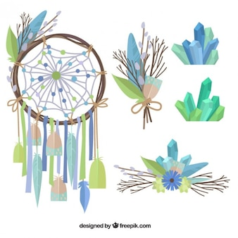 Hand drawn dreamcatcher and boho elements