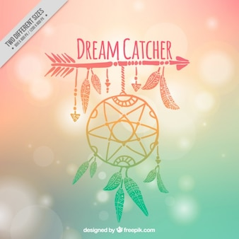 Hand drawn dreamcatcher on a blurred background