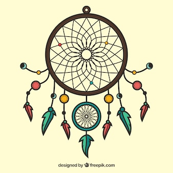 Hand drawn dreamcatcher ornament