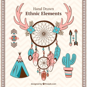 Hand-drawn dreamcatchers and ethnic objects