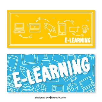 Hand drawn e-learning banners