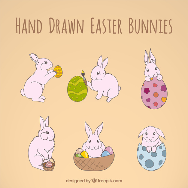 Hand drawn easter bunnies