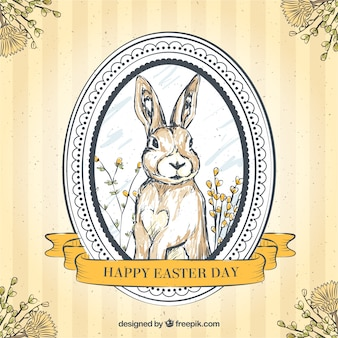 Hand drawn easter bunny retro background