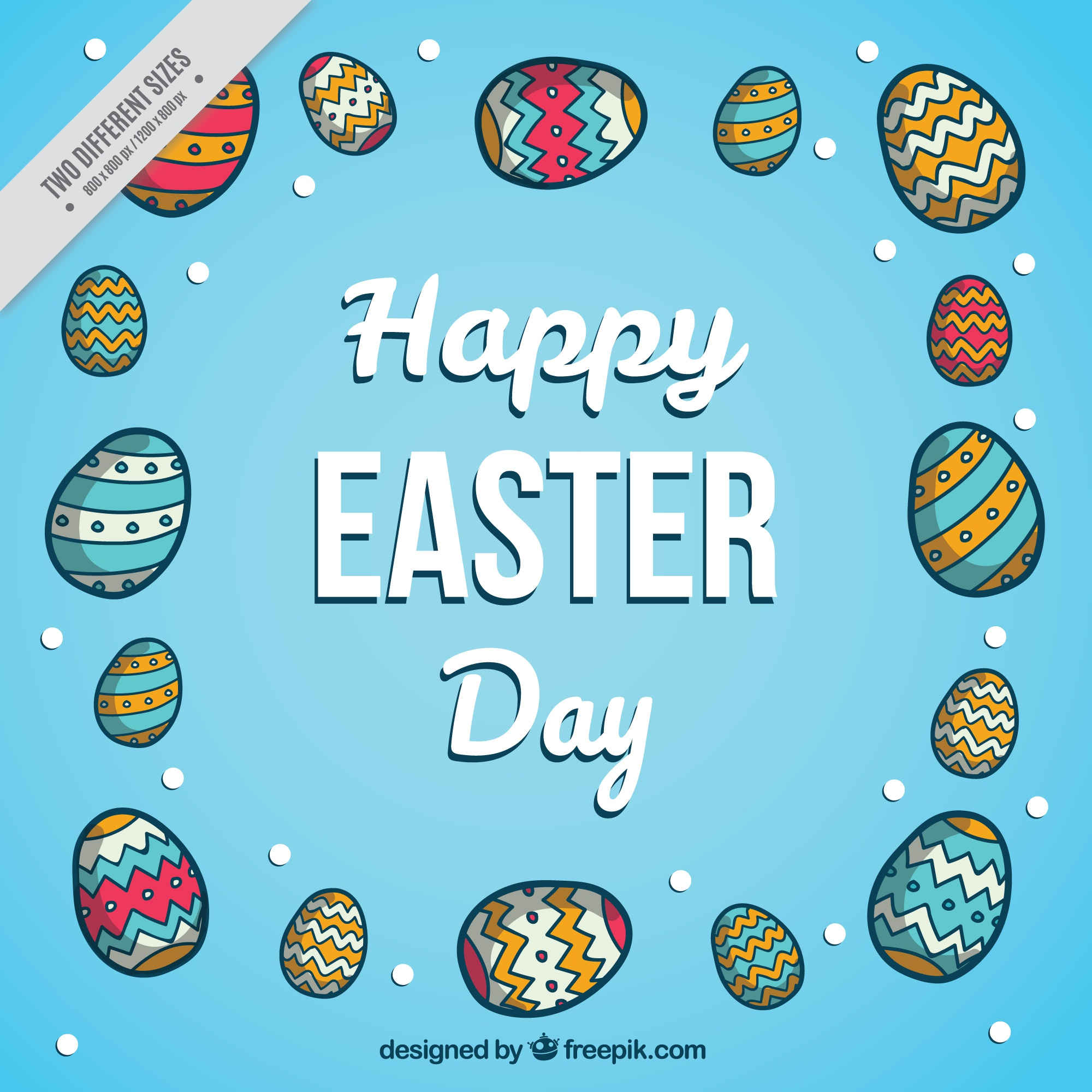 Hand drawn easter eggs decorative background