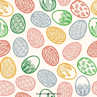 Hand drawn Easter eggs pattern with ornaments