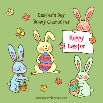 Hand drawn easter's day lovely bunny caracter