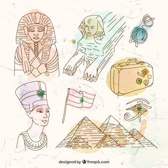 Hand drawn egyptian elements
