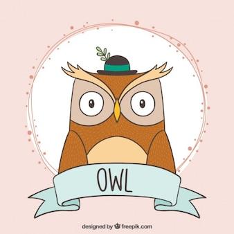Hand drawn elegant owl with a stylish hat