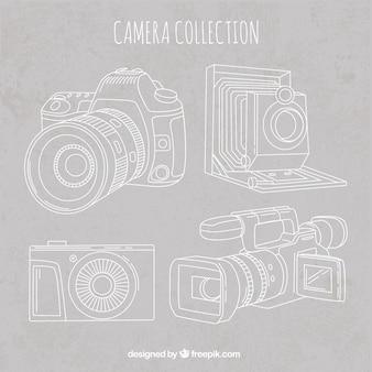 Hand drawn elegant retro camera collectio