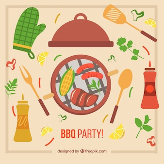 Hand drawn elements for barbecue party