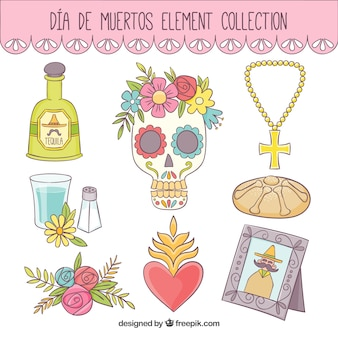 Hand-drawn elements for day of the dead