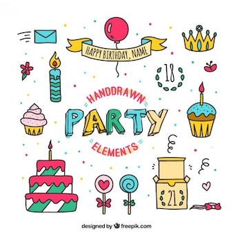 Hand drawn elements of party