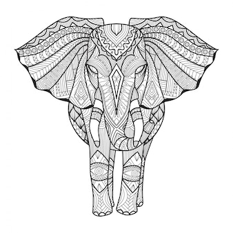 Hand drawn elephant background