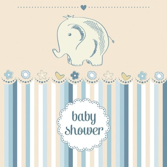 Hand drawn elephant for baby shower
