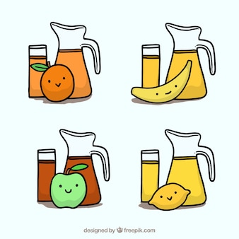 Hand drawn enjoyable fruit juices characters