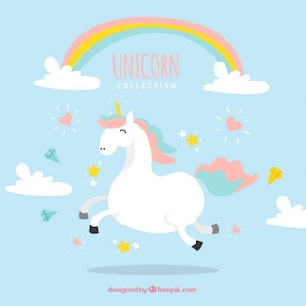 Hand drawn enjoyable unicorn with clouds and rainbow