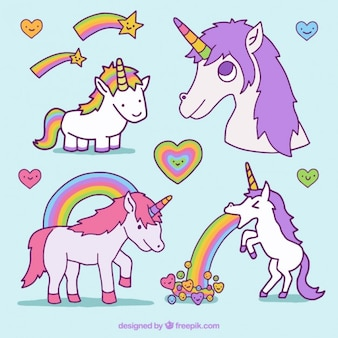 Hand drawn enjoyable unicorns