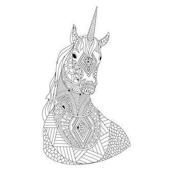 Hand-drawn ethnic unicorn