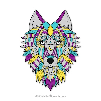 Hand drawn ethnic wolf background