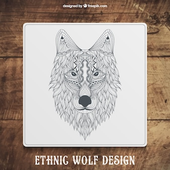 Hand drawn ethnic wolf design