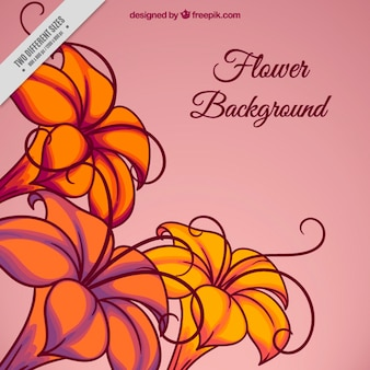 Hand drawn exotic flowers background