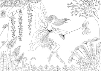 Hand drawn fairy background