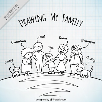 Hand drawn family background with pets