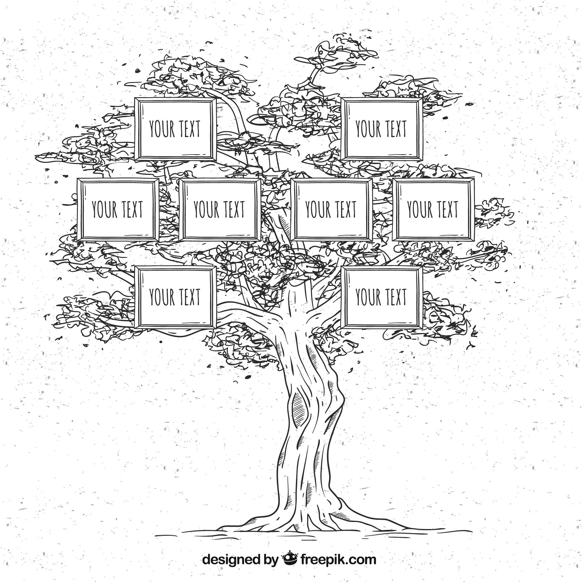 Hand-drawn family tree in vintage style