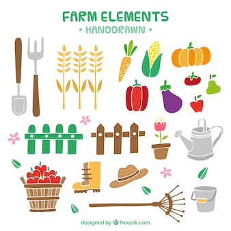 Hand drawn farm elements and products