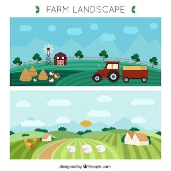 Hand drawn farm landscape banners