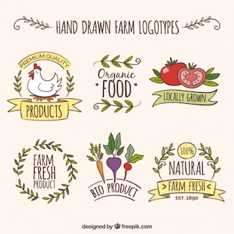 Hand drawn farm logotypes with organic products