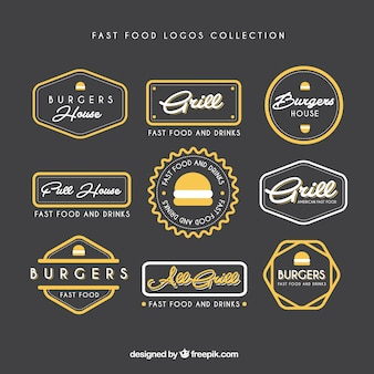 Ручной обращается коллекция фаст-фуд логотипы