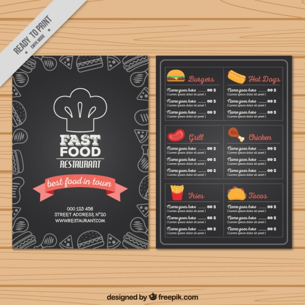 Hand drawn fast food menu in blackboard style
