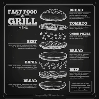 Hand drawn fast food menu in blackboard