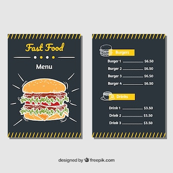 Hand-drawn fast food menu with yellow details