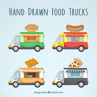 Hand drawn fast food trucks