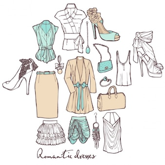 Hand drawn female clothes
