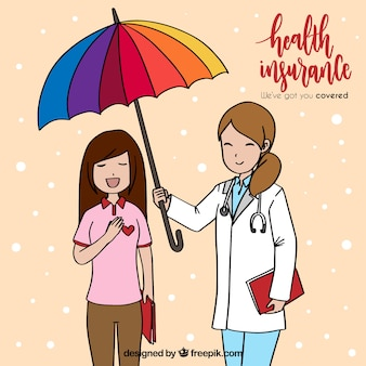 Hand drawn female doctor and patient with umbrella