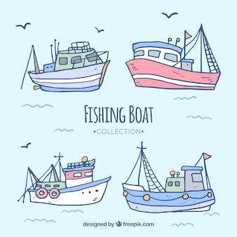 Hand drawn fishing boat collection