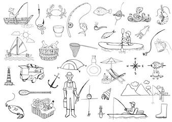 Hand drawn fishing elements