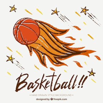 Hand drawn flaming basketball ball background