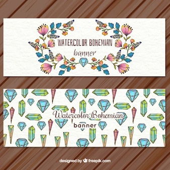 Hand drawn floral and crystal banners
