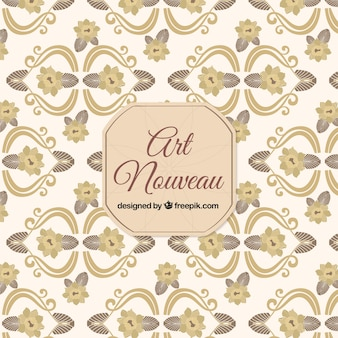 Hand drawn floral art nouveau pattern