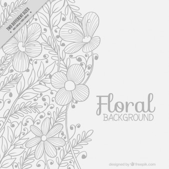 Hand drawn floral background with leaves